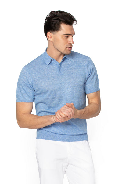 Merino wool and linen blue polo shirt