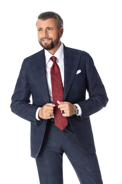 Tailor fit 2 pieces business navy suit with red discreet checkered texture