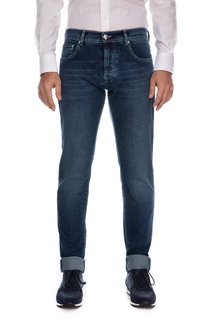 Jeans albastri slim fit monkey