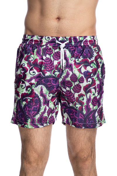 Paisley print swim shorts in purple and green