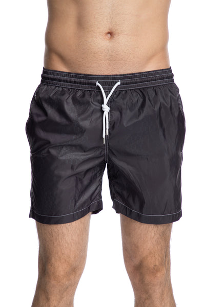 Black patterned swim shorts