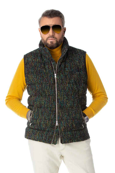 Multicolored goose down vest