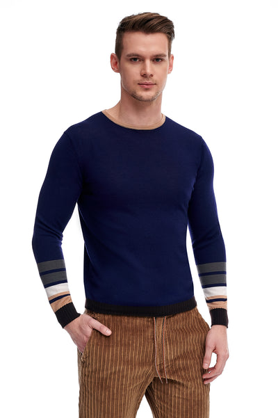 Fine Navy Wool And Cashmere Sweater