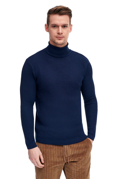 Navy Sweater With High Collar
