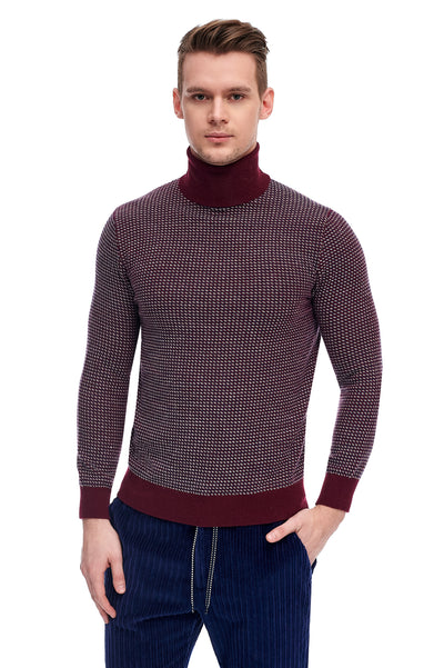 Burgundy Sweater With Alpaca Wool