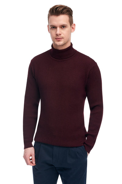 Burgundy Sweater With High Collar