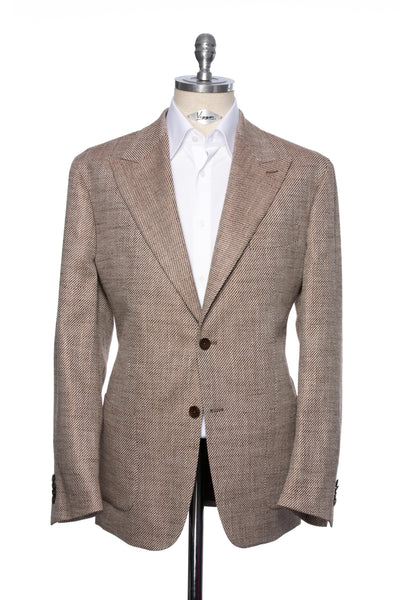 Brown Casual Jacket With Beige Inserts And Peak Lapel