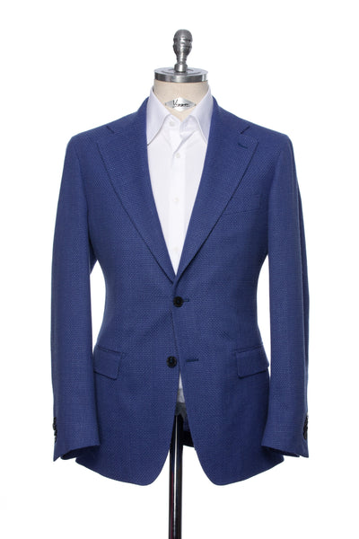 Fine Textured Blue Casual Jacket With Cut Out Lapel
