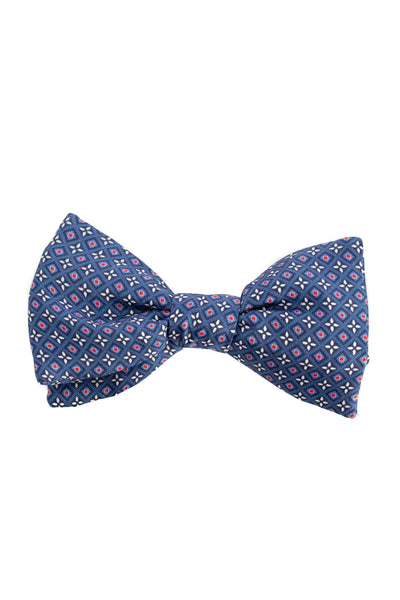 Blue Bow Tie With Floral Pattern