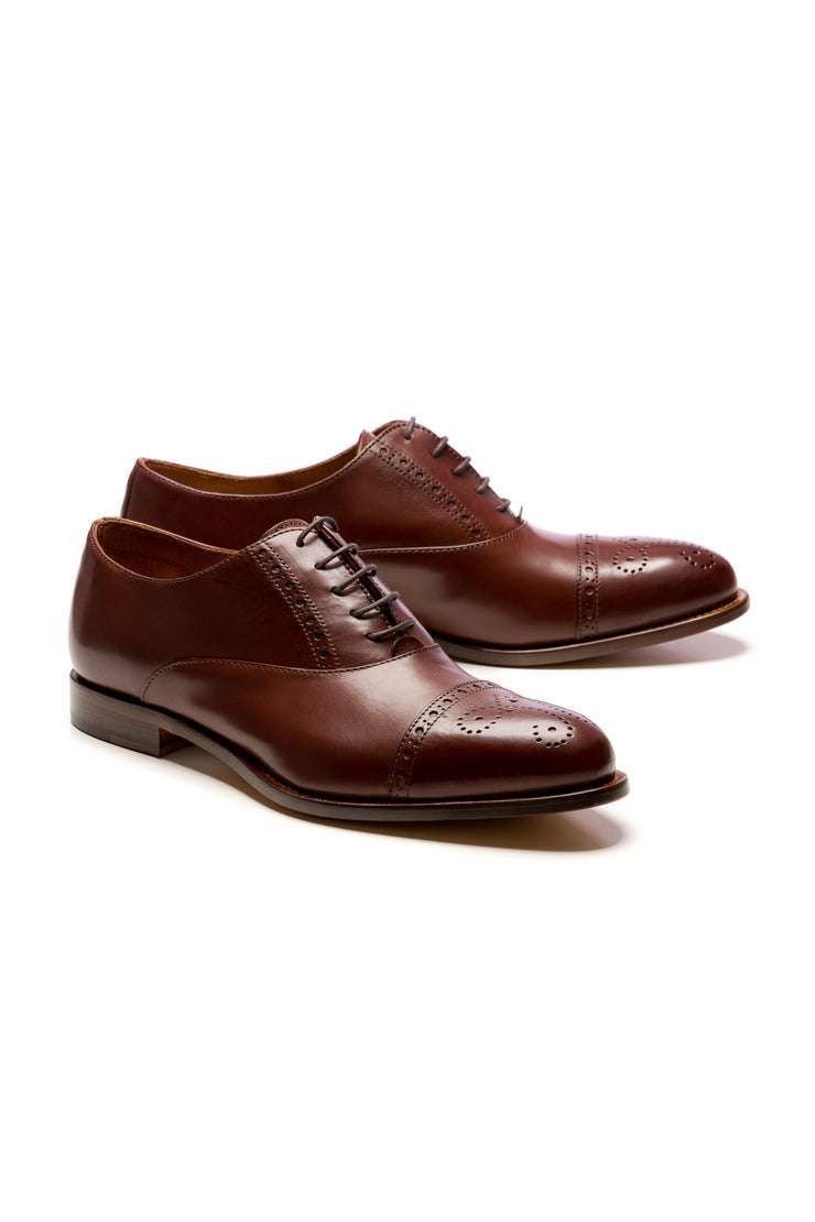 Cognac Brogue Oxford Shoes