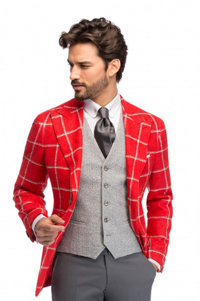 Red Windowpane Coral Jacket