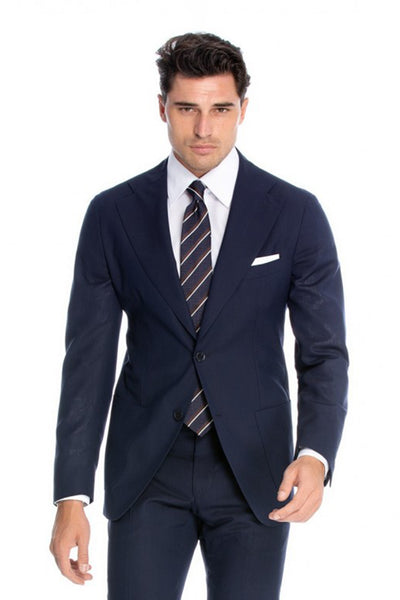 Regular fit 2 pieces business navy suit with wide lapels
