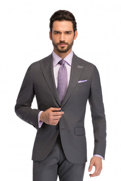 Regular fit 2 pieces Artie business suit in gray with purple check pattern,