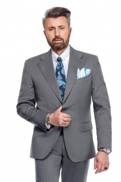 Regular fit 2 pieces Carl business suit in gray with white stripes