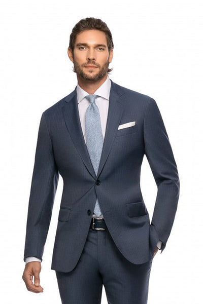 Tailor fit 2 pieces Elloy business suit in gray with blue stripes