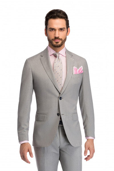 Tailor fit 2 pieces Pedro business gray suit with wide lapels