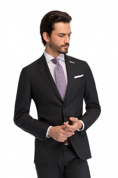 Tailor fit 2 pieces Stan business gray suit with wide lapels