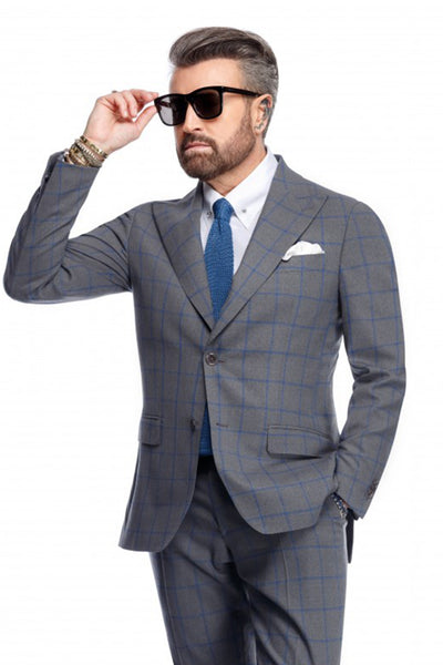 Regular fit 2 pieces Valdo business suit in gray with blue check pattern