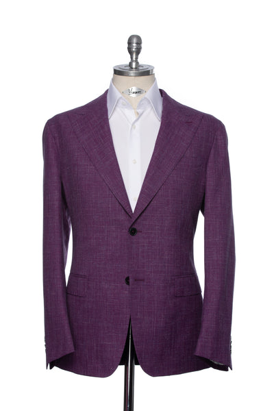 Purple Casual Jacket With Multicolored Inserts And Peak Lapel