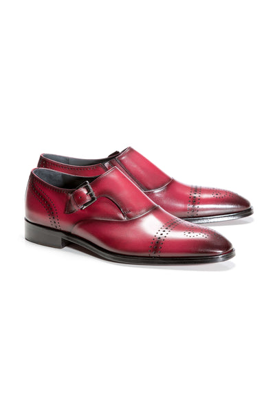 Burgundy Buckle Closure Shoes