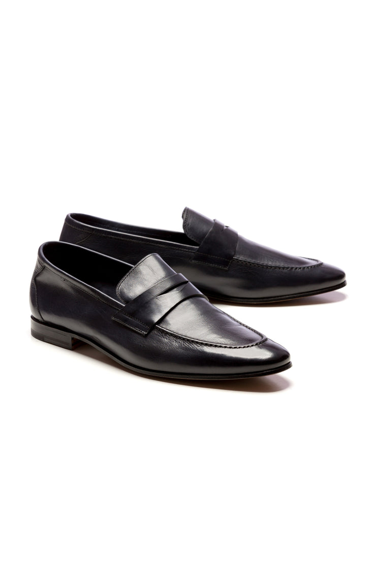 Navy Natural Leather Loafers