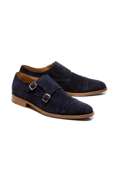 Shoes in suede, double buckle