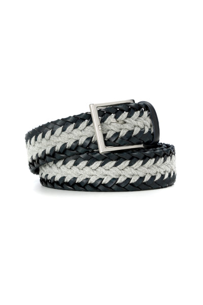 Braided Casual Belt Leather Navy Blue With Gray