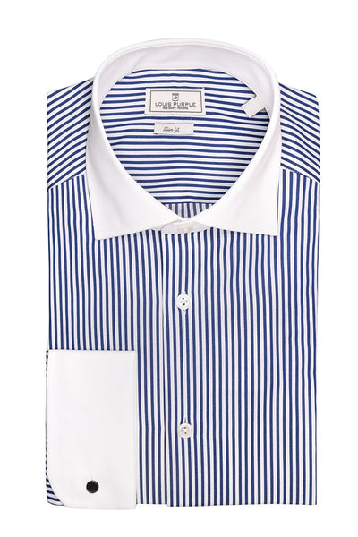 Blue Striped Shirt With White Collar