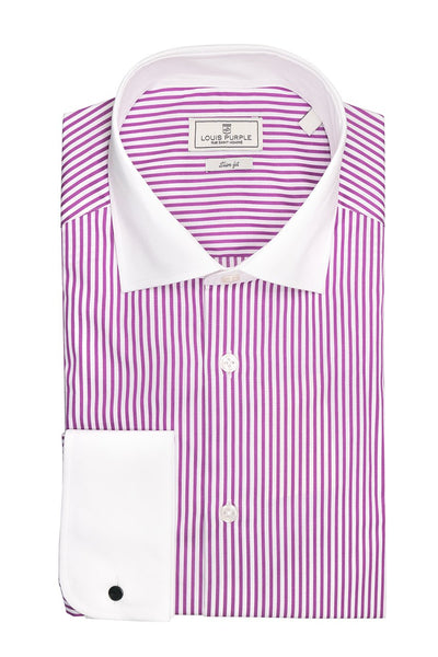 Purple Striped Shirt With White Collar