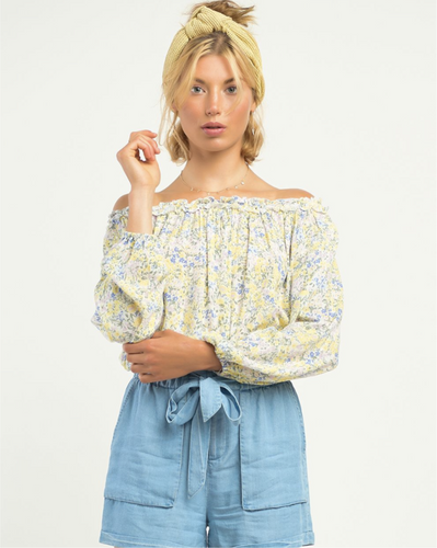 PINK/YELLOW FLORAL OFF SHOULDER BLOUSE