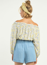 Load image into Gallery viewer, PINK/YELLOW FLORAL OFF SHOULDER BLOUSE