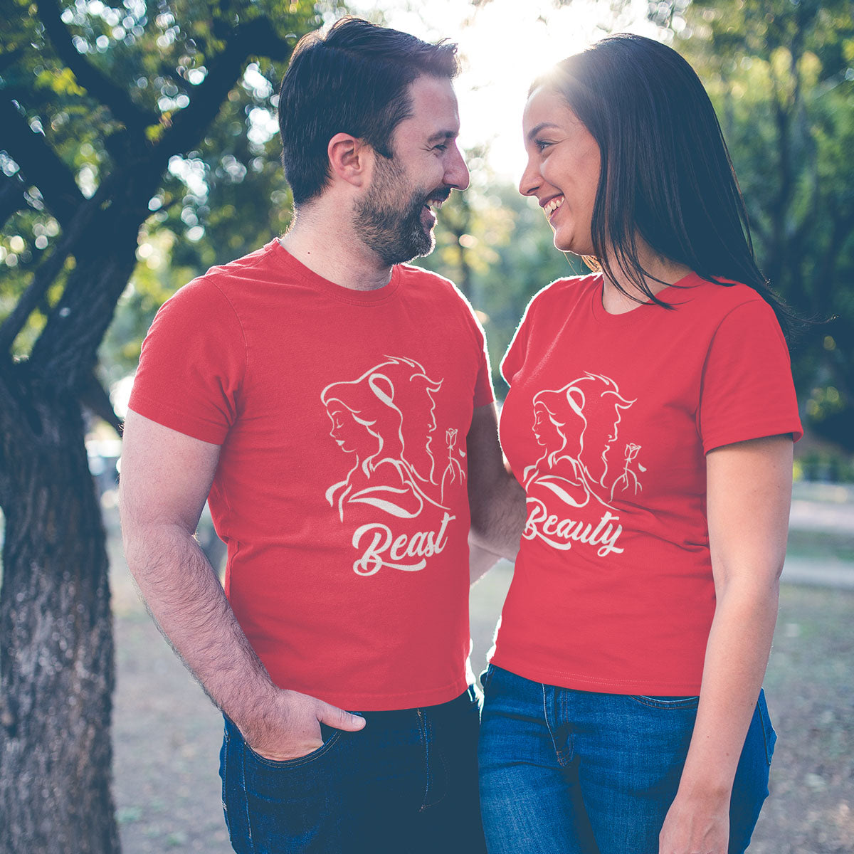 Sprinklecart Beauty and Beast Themed Couple T Shirt | Awesome Wear for Loving Couples