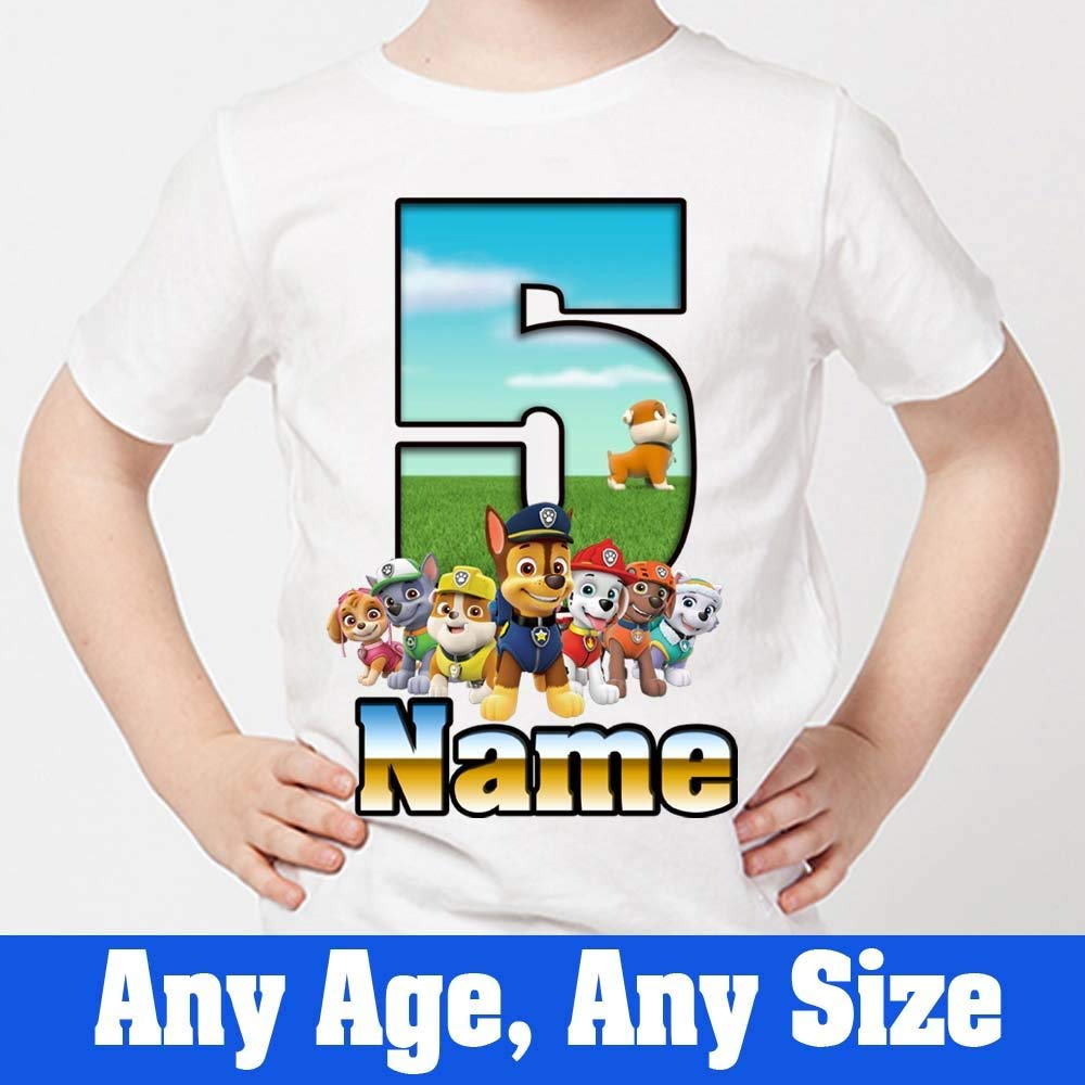 Sprinklecart Personalized Name Printed Paw Patrol 5th Birthday T-Shirt for Your Little Hero