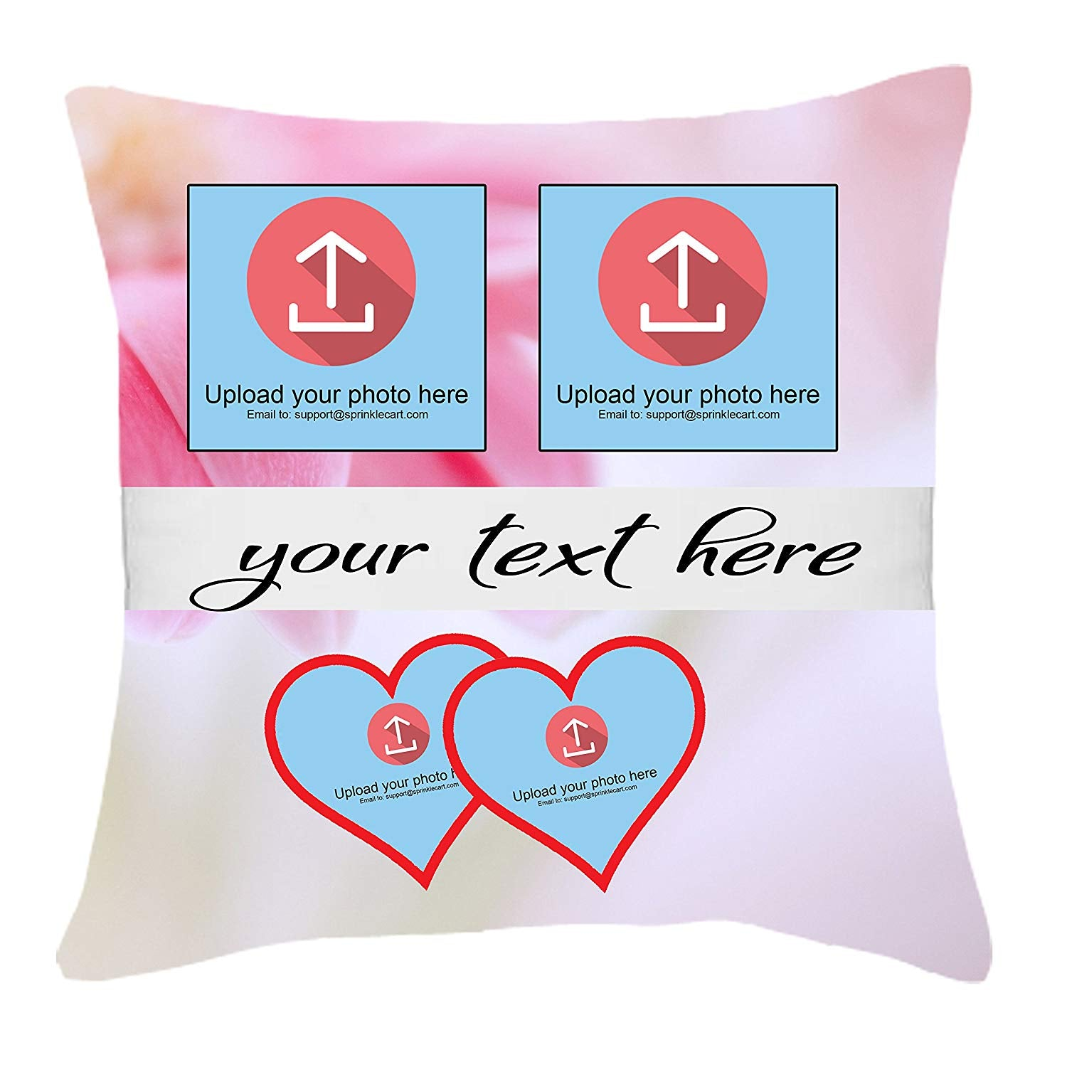 Sprinklecart's Cute Pink Backgrounded Customized Photo and Message Printed 15″ x 15″ Inches Gift Pillows