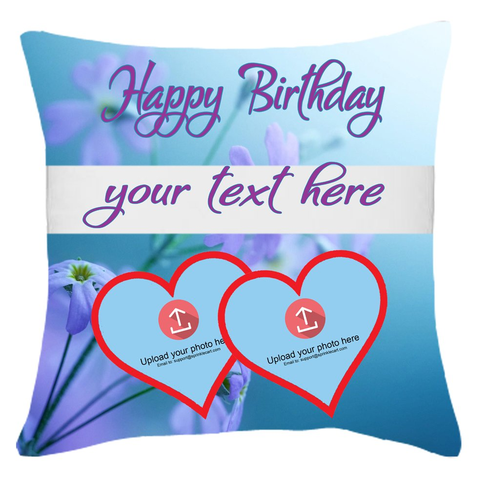 Sprinklecart's Fully Personalized Photo Pillow Gift with Lovely Lavender Colored Floral Background | 15″ x 15″ with Filler Insert