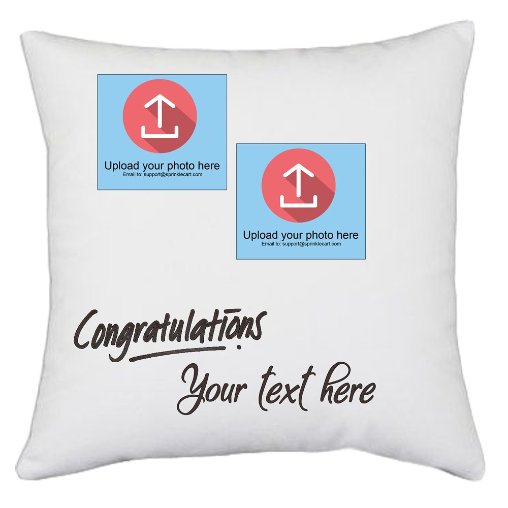 Congratulations | Customized Photo and Message Printed Gift Pillows for The Winner by Sprinklecart | 15″ x 15″ with Filler Insert