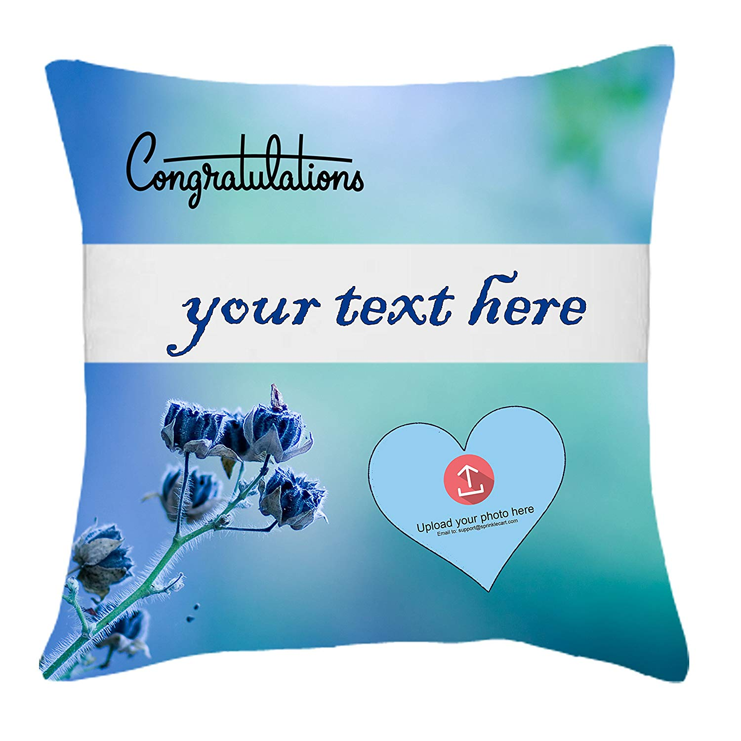 Congratulations Gift | Sprinklecart's Personalized Text and Photo Printed 15″ x 15″ Inches Cushions for The Achiever