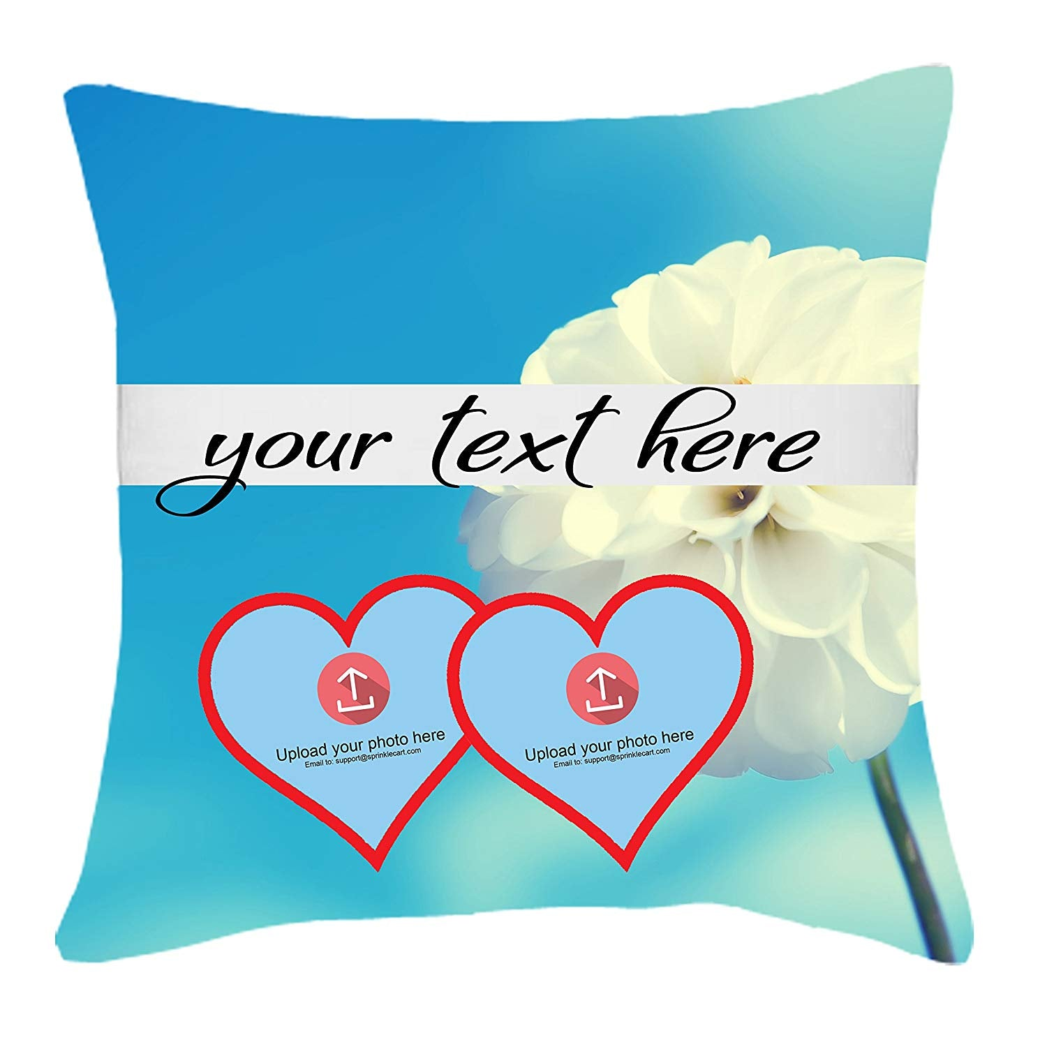 Customized Photo and Text Printed 15″ x 15″ Inches Lovely Gift Cushion Cover with Filler by Sprinklecart