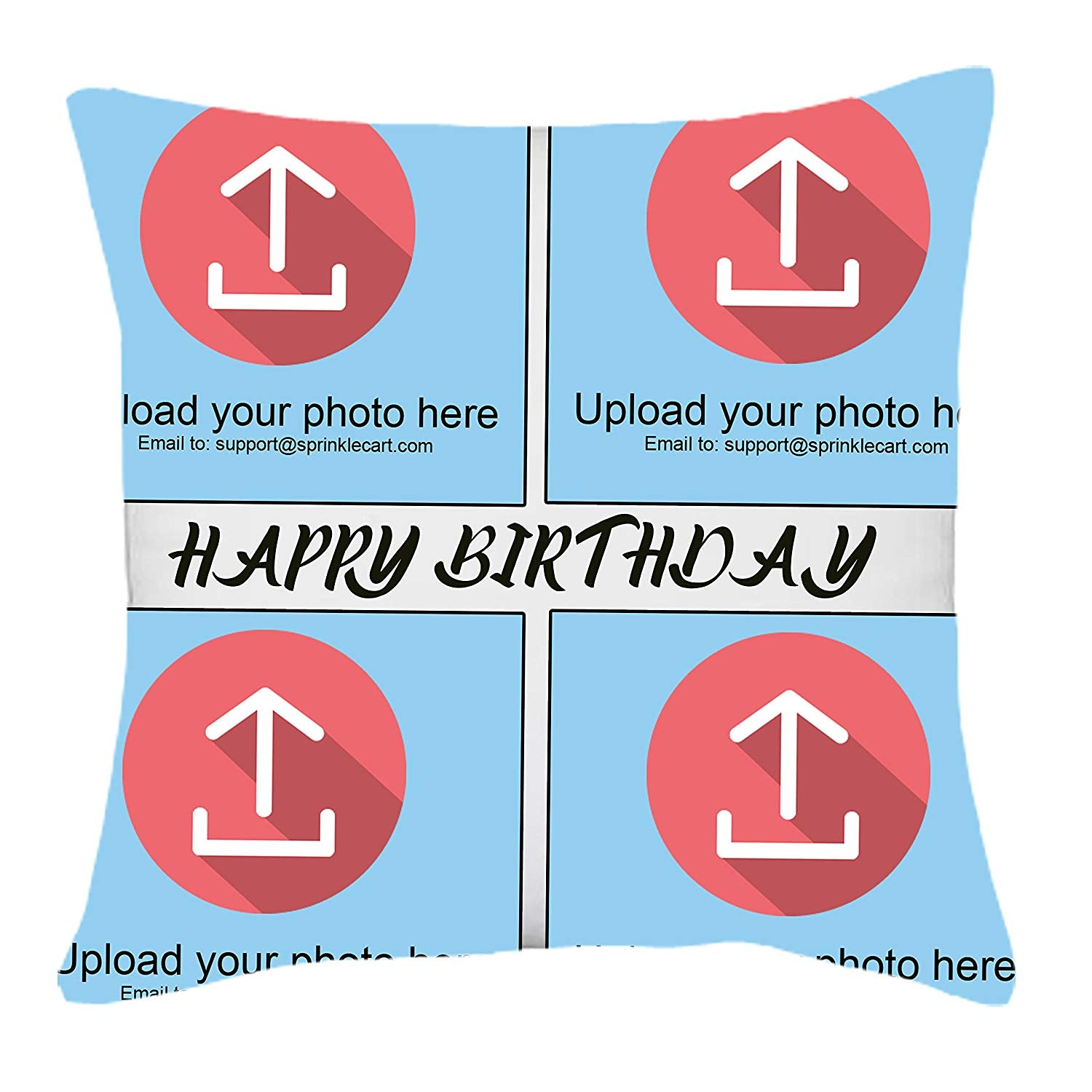 15″ x 15″ Inches | Sprinklecart's Personalized Photo Printed Special Happy Birthday Gift Cushion for Your Loved One