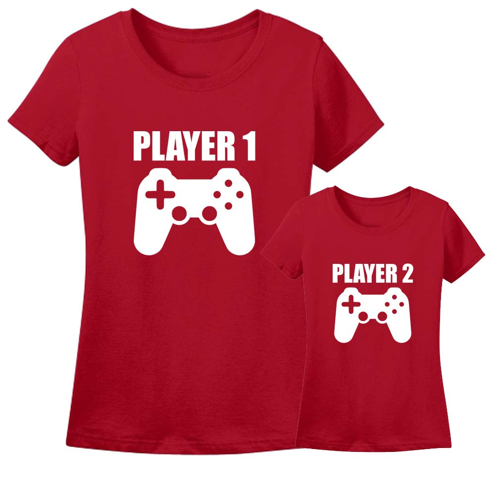 Sprinklecart Player, Player 2 Printed T Shirt Combo | Cotton T Shirt Combo for Mother and Son (Red)