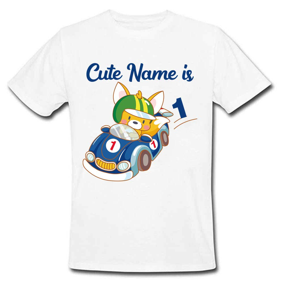 Sprinklecart Kids Customized Cute Car 1st Birthday T Shirt for Your Little One, Poly-Cotton (White)