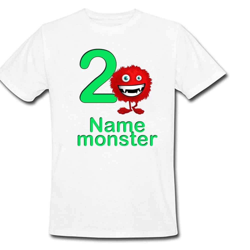 Sprinklecart Customized Monster 2nd Birthday Tee Gift for Kids, Poly-Cotton (White)