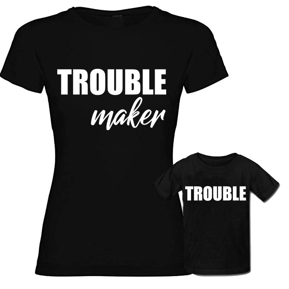 Sprinklecart Funny Trouble Maker, Trouble Matching T Shirt Combo for Mom and Naughty Son (Black)