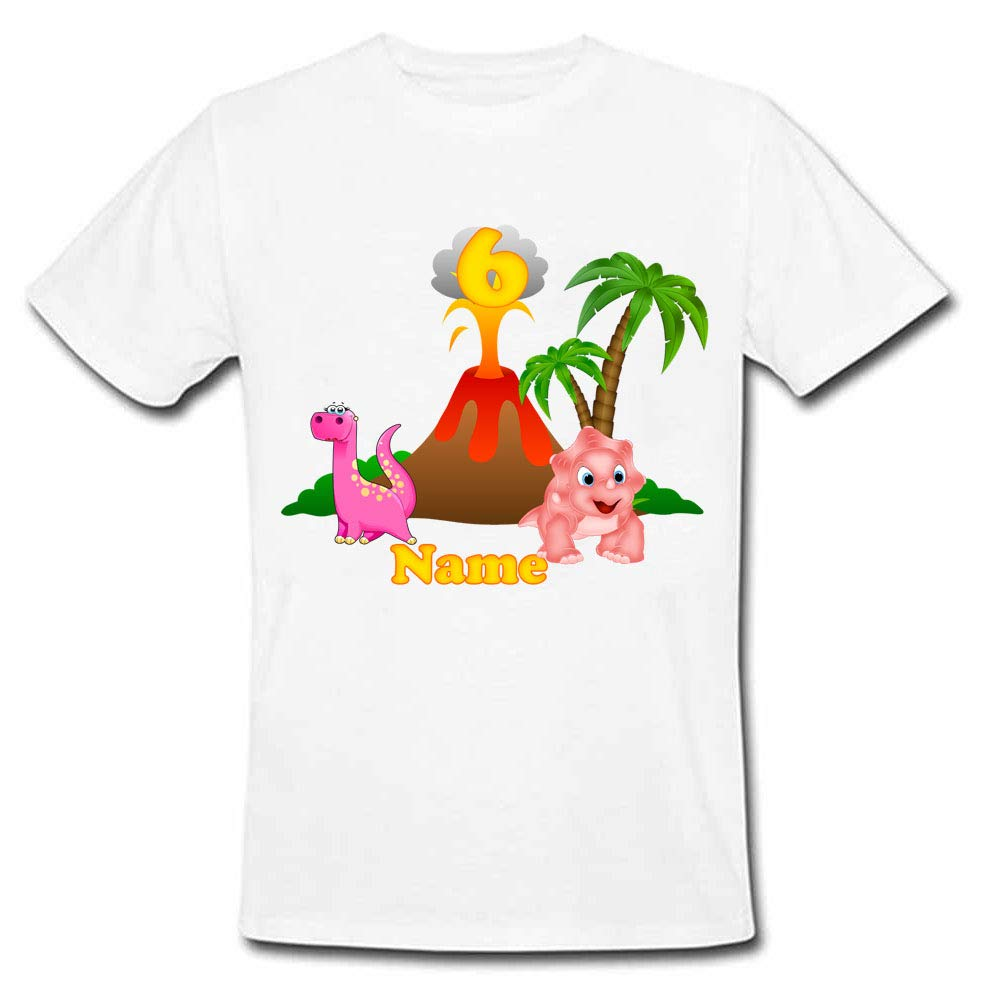 Sprinklecart Personalized Kids Little Dinosaur 6th Birthday Poly-Cotton Tee Wear (White)