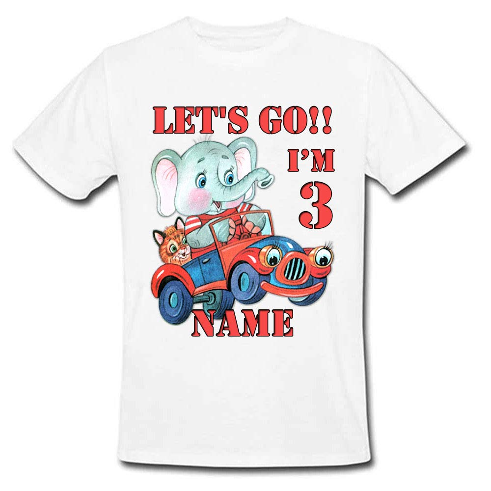 Sprinklecart Customized Let's Go!! I'm 3 Printed Animals Birthday T Shirt for Kids, Poly-Cotton (White)