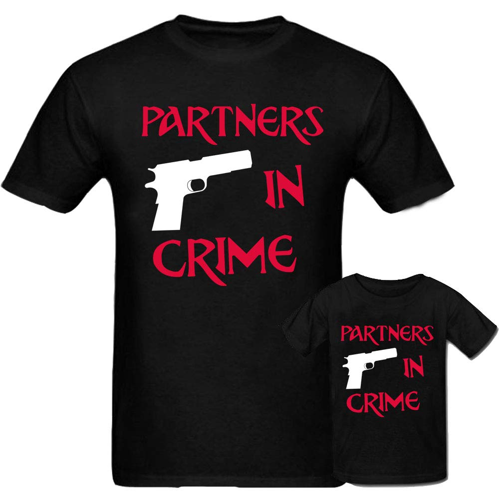 Sprinklecart Partners in Crime Dad & Daughter Matching Lovely T Shirt Combo (Black)