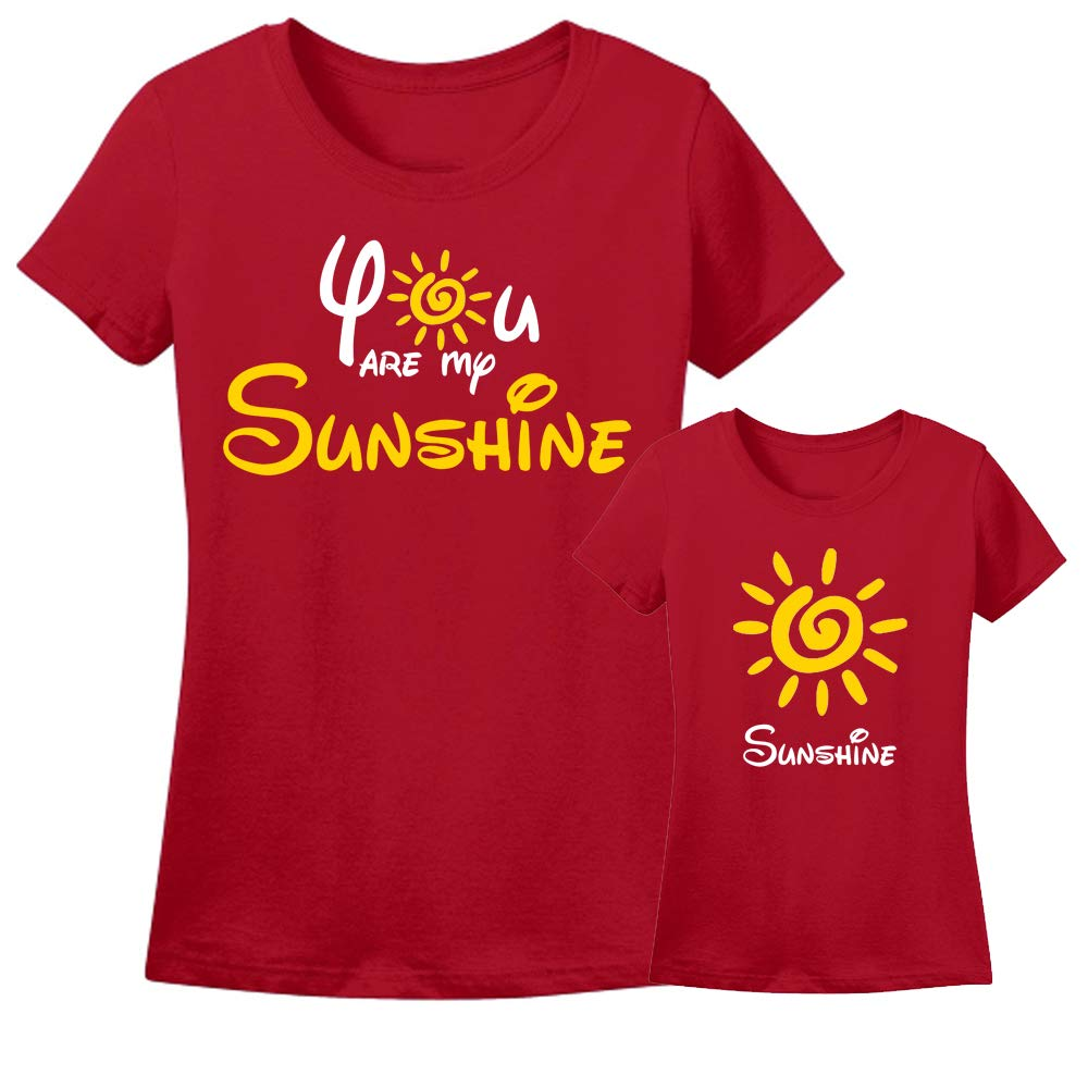 Sprinklecart Lovely T Shirt Combo for Mom and Daughter | You are My Sunshine, Sunshine Printed T Shirt (Red)
