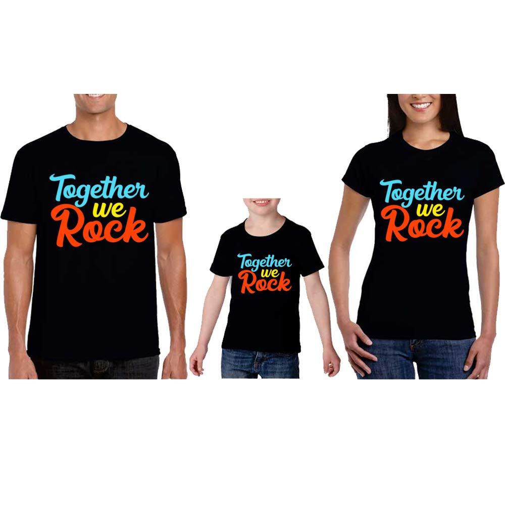 Sprinklecart Together We Rock Family T Shirt | Combo T Shirts for Dad Mom and Kid