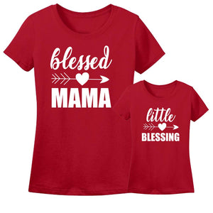 Sprinklecart Blessed Mama, Little Blessing Matching Cotton T Shirt Set for Mom and Son (Red)
