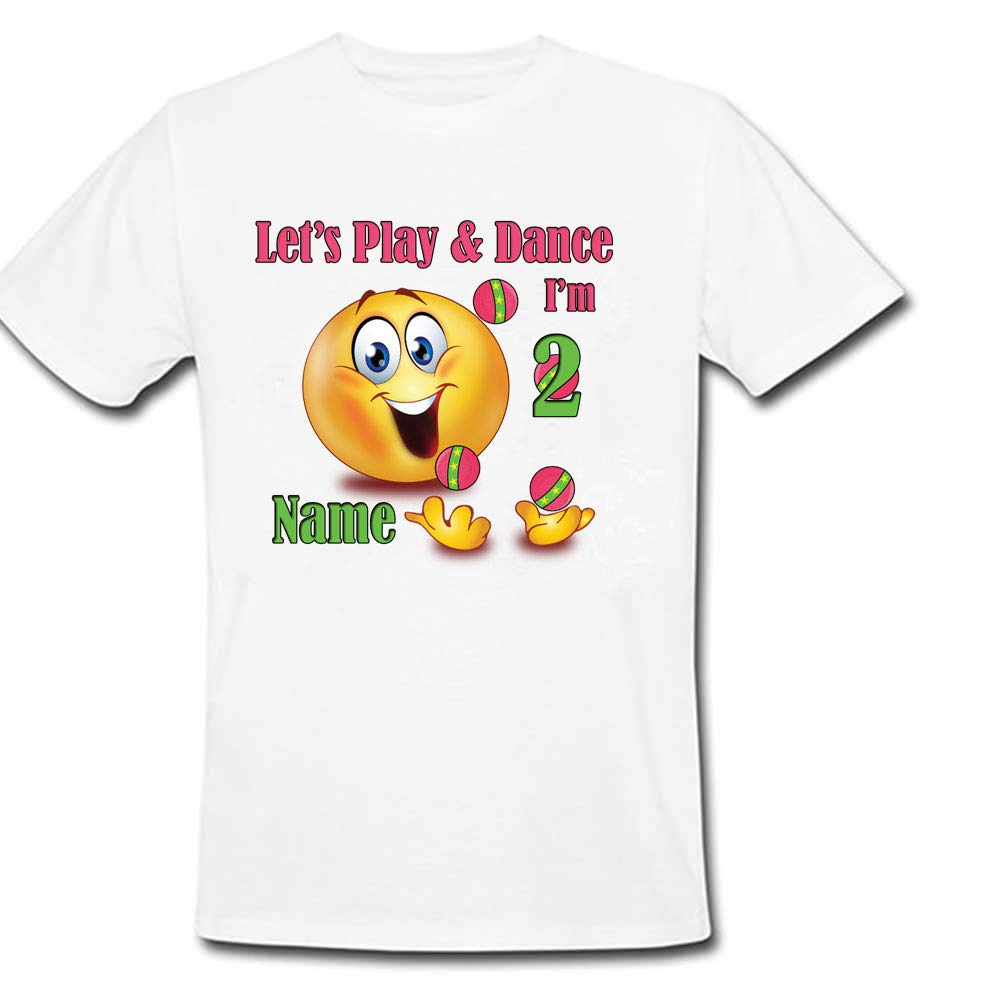 Sprinklecart Customized Let's Play & Play I'm 2 Printed Birthday Tee, Poly-Cotton (White)